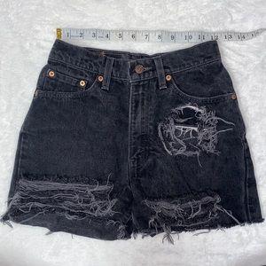 Vintage Levi's 512 Distressed black Denim shorts